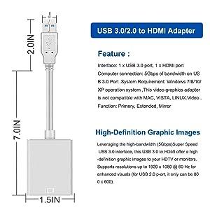 USB to HDMI Adapter, CHIULOIAN USB 3 0 to HDMI Cable Multi-Display