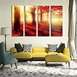 Luxry Red Trees Wall Art Picture Modern Home Decoration Living Room or Bedroom Canvas Print Painting Wall pictu No Frame