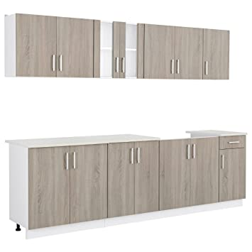 vidaXL Oak Look Kitchen Cabinet with Base Unit for Sink 8 pcs
