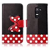 Fashion Youth Series Cute Design Black Red Bow Bowknot Polka Dot Wallet Flip Case Folio PU Leather Stand Cover with Card Slots for LG G2 D802 + Free Lovely Gift