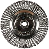 """PFERD 82307P Power Knot Wire Wheel Brush with Stringer Bead Twist, Threaded Hole, Stainless Steel Bristles, 4"""" Diameter, 0.020"""" Wire Size, 5/8""""-11 Thread, 20000 Maximum RPM (Retail Pack of 5)"""