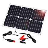SUAOKI 18V 12V 18W Solar Car Battery Charger Portable SunPower Solar Panel Trickle Charger with Cigarette Lighter Plug, Battery Charging Clip Line for Motorcycle RV Boat Marine Snowmobile (Color: 18W, Tamaño: 18W)