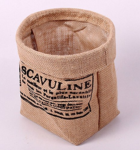 GreenForest Retro Vintage Jute Linen Burlap Round Storage Bin Home Decor Zakka Storage Basket
