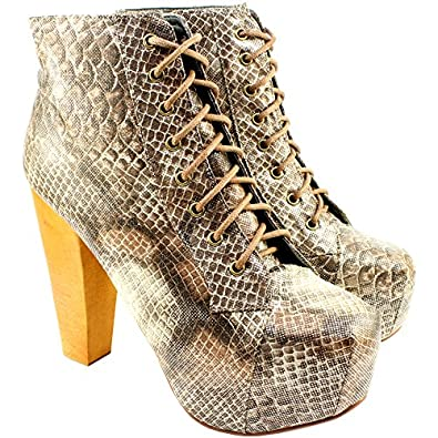 womens wood heel snake print ankle shoe boots co