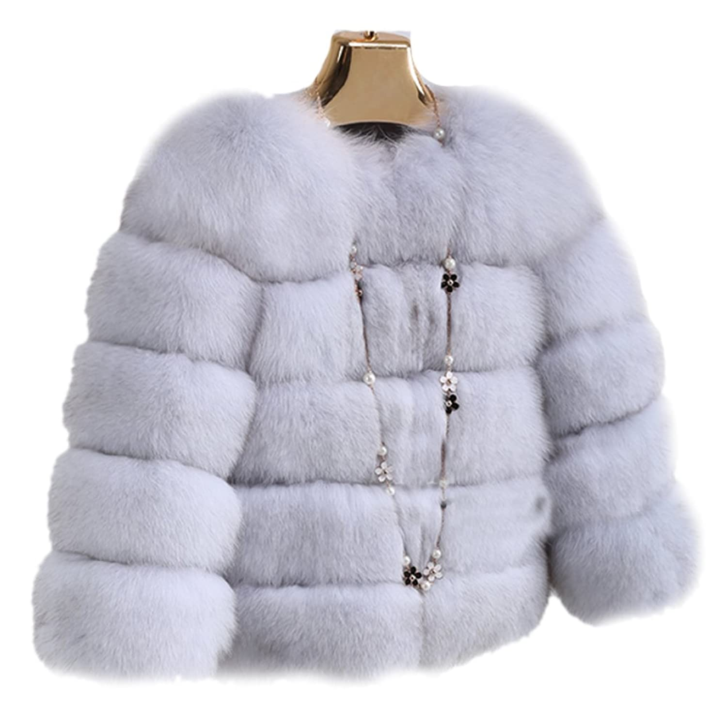Queenshiny Damen 100% Echte Ganze Fuchs Pelz Mantel Jacken Luxus Winter Mode günstig online kaufen