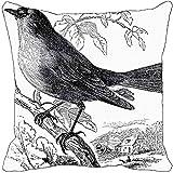 Leaf Designs - Black And White Bird Cushion Cover