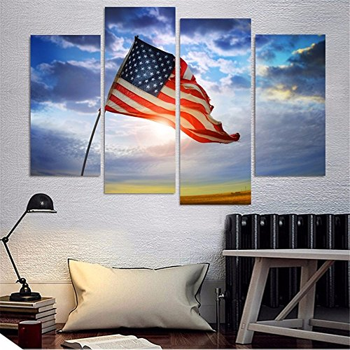 4 Piece Wall Oil Painting American Flag Home Decorative Art Picture Paint On Canvas Prints (American Paintings compare prices)