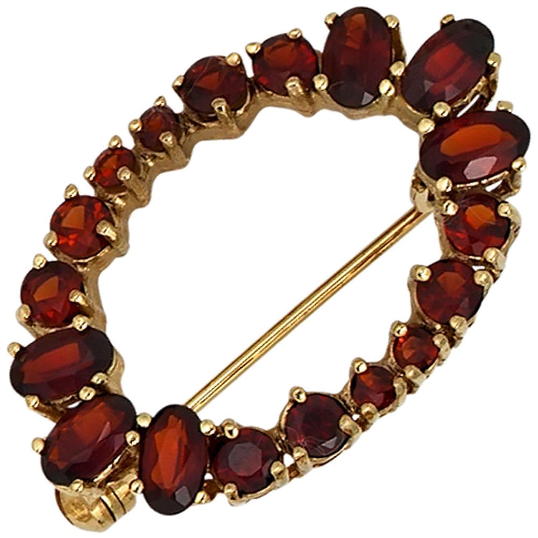 Damen Gold Brosche 375 Gold Gelbgold 17 Granate rot günstig online kaufen