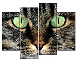 Canval prit painting Animal Wall Art Cat Face Close Up a Pair of Bright Green Eyes 4 Panel Picture on Canvas