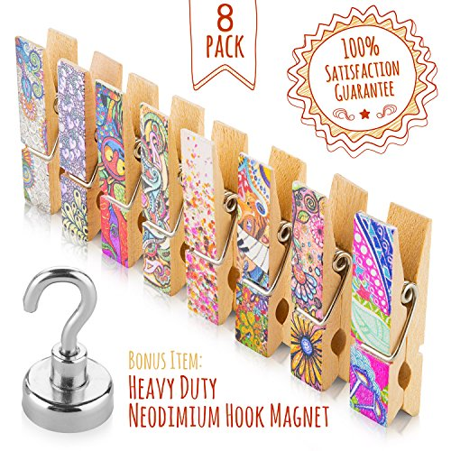 Treats&Smiles 8 Clothespin Fridge Magnets Set, Artistic Magnetic Clips. Unique Colorful and Strong - Display Recipes, Memos, Photos & Drawings on Refrigerator, Cubicles, Offices, Whiteboards & Lockers (Magnetic Shelf For Refrigerator compare prices)