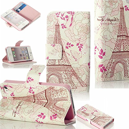 Mylife (Tm) Pearl Cream Pink Eiffel Tower And Flowers - Glamorous Design - Textured Koskin Faux Leather (Card And Id Holder + Magnetic Detachable Closing) Slim Wallet For Iphone 5/5S (5G) 5Th Generation Itouch Smartphone By Apple (External Rugged Syntheti