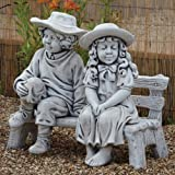Large Garden Statues - Boy & Girl on Bench Stone Sculpture