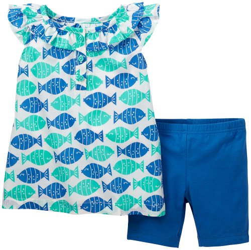 Carter'S Baby Girls' 2 Piece Shorts Set (Baby) - Turquoise - 18 Months front-798262
