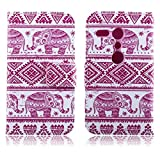 HPY_Hero NEW STYLE Painting Deluxe Book Style Folio PU Leather Wallet with Magnet Design Flip Case Cover, Credit Card Holder for HTC One M8 Mini (Elephants Pattern)