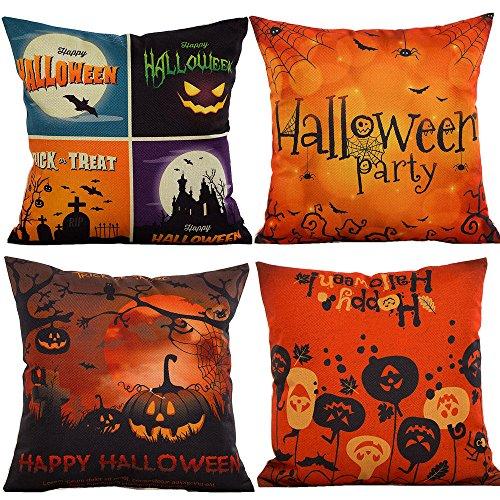 HOSL PW02 4-Pack Happy Halloween Cotton Linen Square Burlap Decorative Throw Pillow Case Cushion Cover Spider Moon Bat Pumpkin