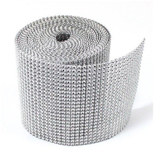 Dress My Cupcake Silver Diamond Rhinestone Ribbon Wrap BULK 30 feet – Wedding Decorations, Party Supplies