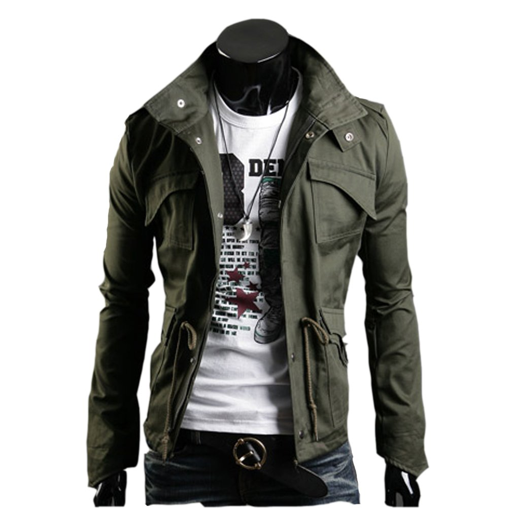 Mooncolour Men's Fall Winter Slim Fit Thick Military Rider Jacket