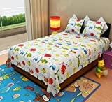 Home Candy Fishes Kids Cotton Double Bedsheet with 2 Pillow Covers - Multicolor