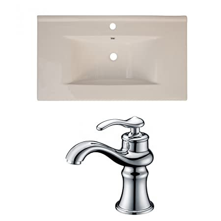"Jade Bath JB-15638 36"" W x 20"" D Ceramic Top Set with Single Hole CUPC Faucet, Biscuit"