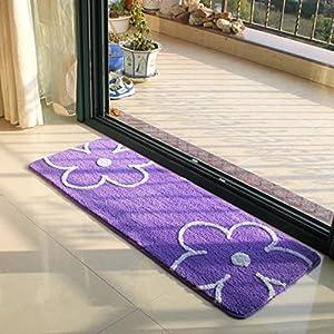 Amazon Ustide Purple Kitchen Carpet Floral Rug