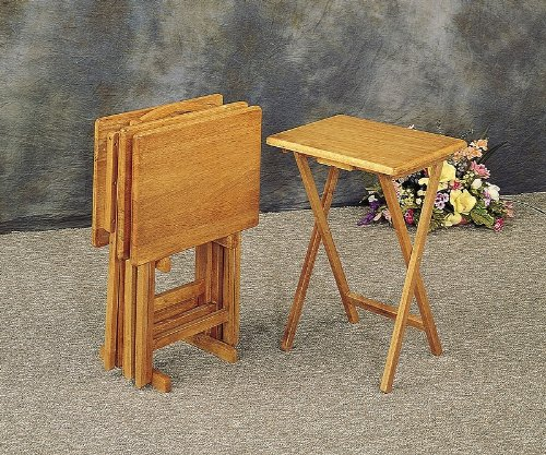 Cheap Set of 4 Solid Wood TV Dinner Tray Tables with Stand (VF_4199)