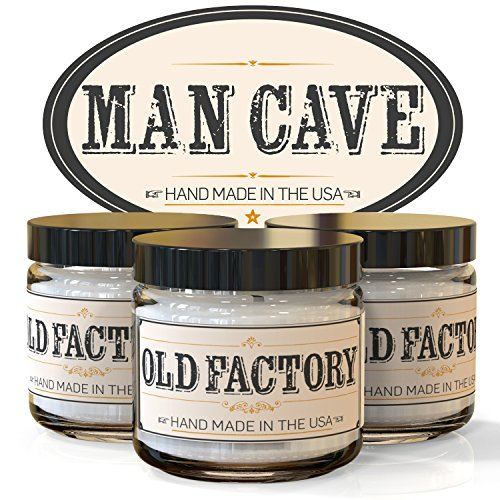 Old Factory Candles MAN CAVE set of 3: Straight Razor, Leather, Mahogany