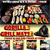 GORILLA GRILL MATS Huge Double Sized 16x26, Twice as Thick, Twice as Strong - 2 Pack - Equal to 4 Ordinary Mats - BPA and PFOA Free - NonStick - Big Enough to be used as an Oven liner