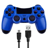 Kogoda Wireless Bluetooth Controllers Joystick Gamepad for V2 PS4 Playstation 4 Double Shock Compatible with Windows PC & Android OS - Bundled with USB Charge Cord (Blue) (Color: Blue)