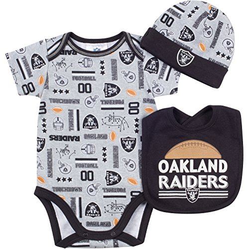 NFL Oakland Raiders Bodysuit, Bib & Cap Set (3 Piece), 0-3 Months, Gray at Steeler Mania