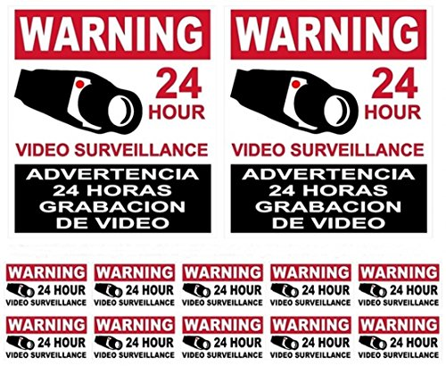 12-Pcs Imposing Modern Warning Stickers Sign Property Protected Anti-Thief Window Reflective 2-Large 10-Small (Target One Dollar Spot compare prices)
