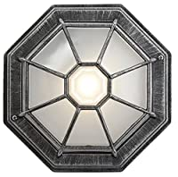 Hexagonal Black/Silver Flush Ceiling Porch Light with Frosted Glass Diffuser by Haysom Interiors