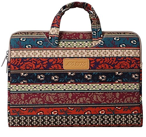 Mosiso - Stile Bohemien Tessuto di Tela Custodia Borsa Ventiquattrore Cartella Involucro Sleeve Case per Laptop / Notebook / Computer Portatile / MacBook / MacBook Pro / HP / Dell / Sony / Toshiba / Samsung / Acer / ASUS / Lenovo / Apple da 15-15.6 Pollici, Foresta Mistica