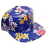 Blue Faux Alligator Floral All Over Print Snapback Baseball Cap