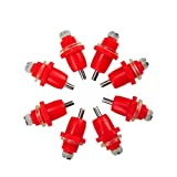 iherdsman 100pcs Poultry Screw Style Nippler Waterer Feeder Chicken Duck Bird Automatic Water Nipples (Color: red, Tamaño: Small)