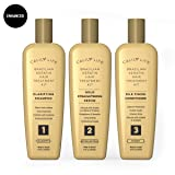 Brazilian Keratin Hair Treatment Set by Calily Life Professional Grade Blowout Kit Includes Clarifying Shampoo, 100% Formaldehyde Free Straightening Serum and Silk Finnish Conditioner - 3 Step System (Color: Gold, Tamaño: 3 Part Set)