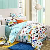 Luk Oil Home Textile,Cartoon Boys and Girls Bedding Set Variety of Fish Pattern Duvet Cover Students 100% Cotton Bedding Fillet Bed Sheets Queen Size, 4Pcs