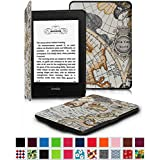 Fintie Kindle Paperwhite SmartShell Case - The Thinnest and Lightest Leather Cover for All-New Amazon Kindle Paperwhite (Fits All versions: 2012, 2013, 2014 and 2015 New 300 PPI), Map