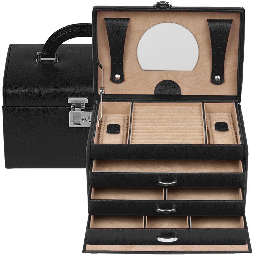 Windrose Beluga Schmuckkoffer 24,5 cm Leder schwarz als Geschenk