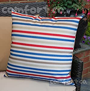 Waterproof Garden Cushions for Chairs - Fibre Filled Cushions for Seats and Benches - Colourful Outdoor Cushion (2, Yacht Club Dashed Stripe) by Comfort Co®