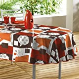 Orange White & Brown Oilcloth PVC Wipe Clean Tablecloth 140cm x 240cm 55