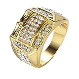 Men Ring,Anboo Diamond Insert Male Men Ring Business Ring A Birthday Present Gift,Men Ring Prime Wedding Gift (Gold, 10) (Color: Gold, Tamaño: 10)