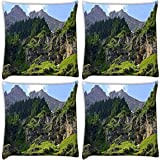 Snoogg Trees On The Mountain Top Pack Of 4 Digitally Printed Cushion Cover Pillows 16 X 16 Inch