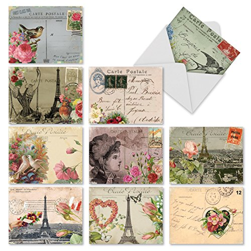M2355OCB Parisian Postcards: 10 Assorted Blank All-Occasion Note Cards Featuring Vintage Collage Postcards with Images that Evoke Paris and the French Countryside, w/White Envelopes.