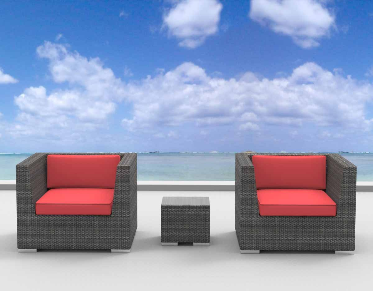 www.urbanfurnishing.net Urban Furnishing - St. Croix 3pc Modern Outdoor Backyard Wicker Rattan Patio Furniture Sofa Chair Couch Set - Coral Red at Sears.com