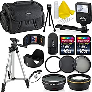 Professional 58MM Accessory Bundle Kit For Canon T6 T5 T4 T3 T2 T1 & DSLR Cameras , 15 Canon Accessories