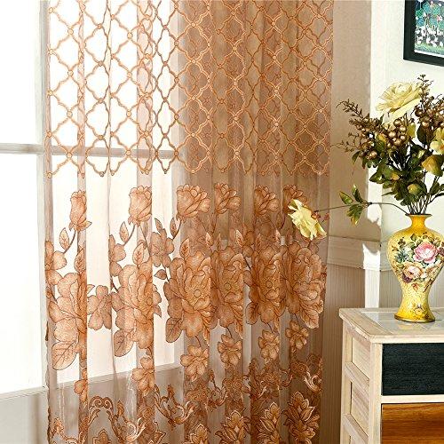 moresave modernes blumen tulle vorhang t r fenster gardinenschals mit sen perlen 100x250cm. Black Bedroom Furniture Sets. Home Design Ideas