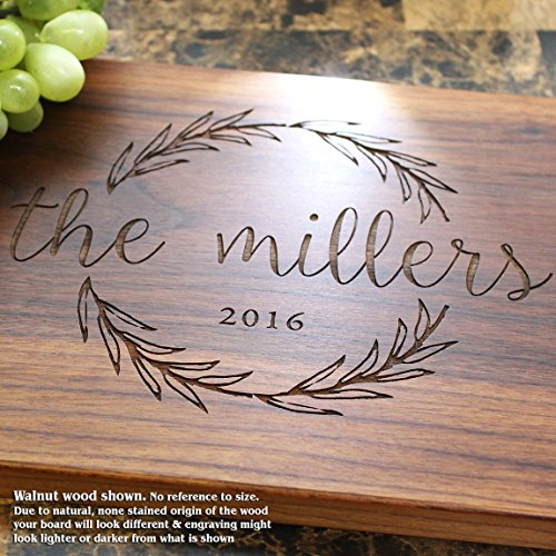 Olive Wreath Personalized Engraved Cutting Board- Wedding Gift, Anniversary Gifts, Housewarming Gift,Birthday Gift, Corporate Gift, Award, Promotion. #413