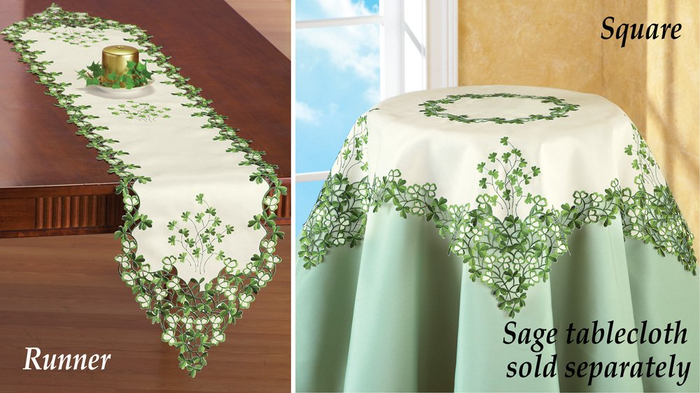 Embroidered Irish Clover Table Linens Runner