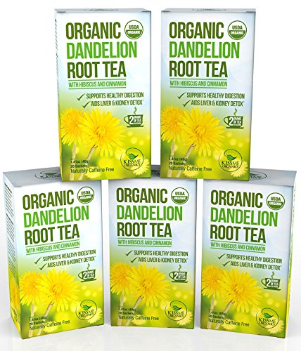 Dandelion Root Tea - Raw Organic Vitamin Rich Digestive - 5 pack (100 Bags 2 grams each) (Kiss Me Organics compare prices)