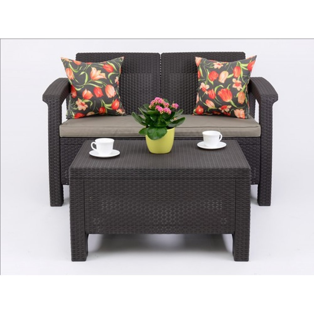 JUSThome Corfu Sofa Gartenmöbel Sitzgruppe Bank + Tisch in Rattan-Optik Braun Taupe online bestellen